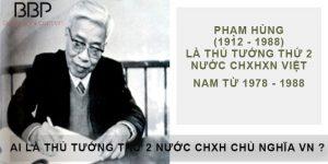 Thủ tướng thứ hai của nước Cộng Hòa XHCN Việt Nam là ai?