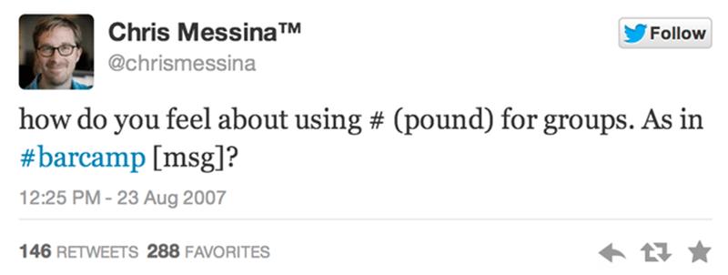 Status Twitter đầu tiên có dùng #