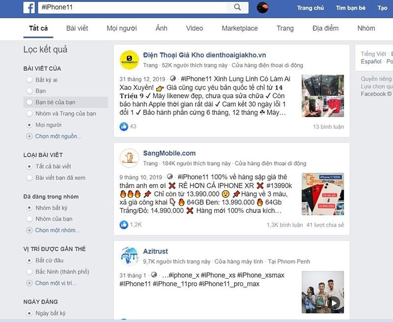 Kết quả tìm kiếm #iPhone11 trên Facebook