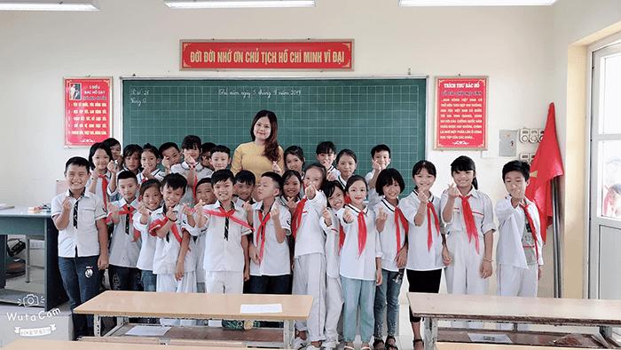 Lớp học tại Trường tiểu học Thư Phú