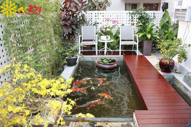 Hồ cá koi khiến cho sân thượng nhà bạn trở nên thú vị