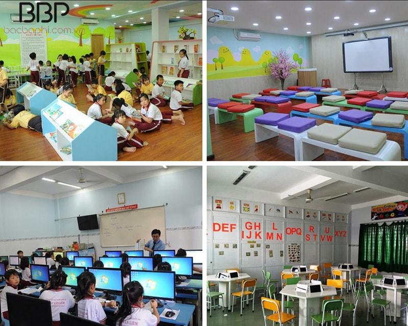 Trường có thư viện, phòng tương tác tiếng Anh, phòng máy tính cực kỳ hiện đại