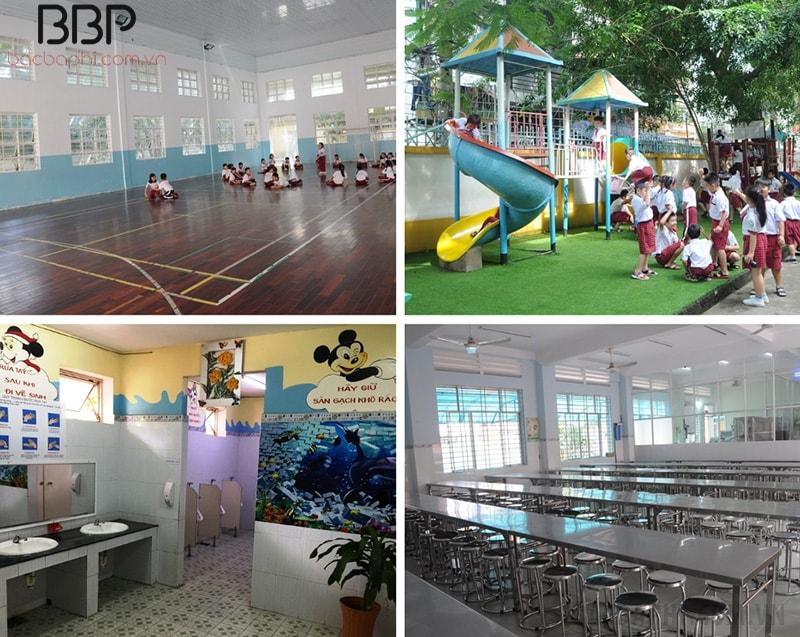 Ngoài ra còn có khu bếp ăn, nhà thể chất và cảnh quan sân trường rộng rãi, nhiều chỗ vui chơi
