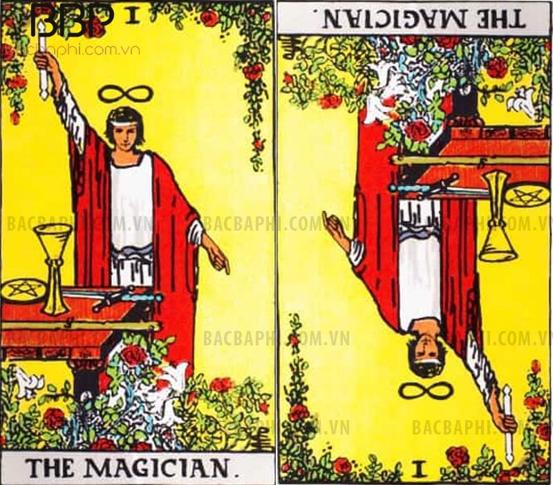 Lá bài I – The Magician (Thuật sư hay Nhà ảo thuật) thuận và ngược