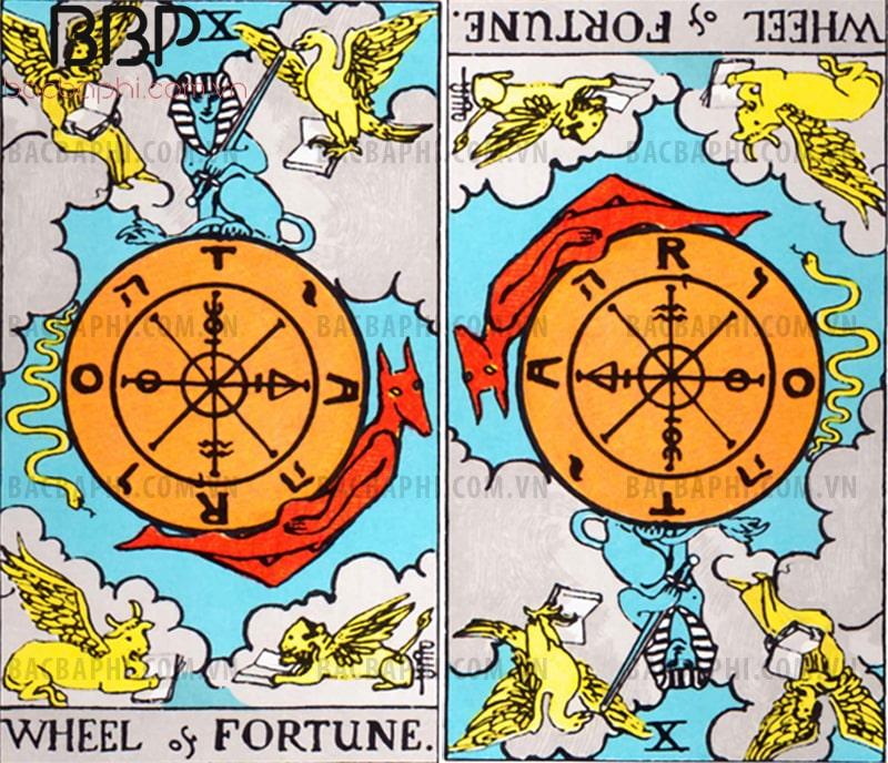 Lá bài X – Wheel of Fortune (Vòng xoay số mệnh) xuôi và ngược