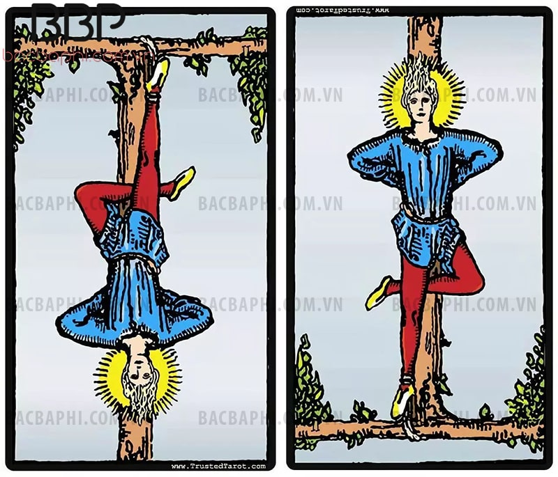 Lá bài XII – The Hanged Man (Người treo ngược) xuôi và ngược