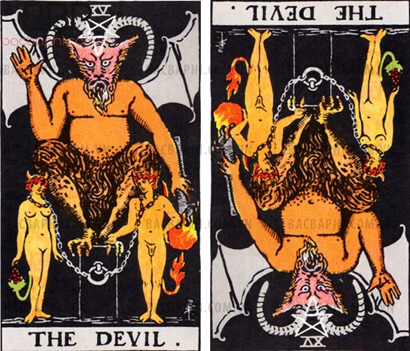 Lá bài XV – The Devil (Satan hay Hoàng tử bóng đêm) xuôi và ngược