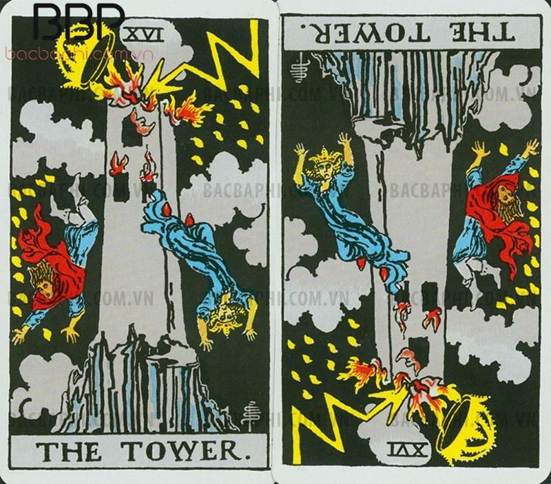 Lá bài XVI – The Tower (Ngọn tháp) xuôi và ngược