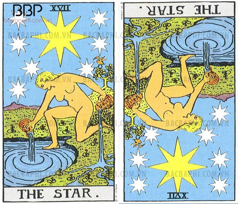 Lá bài XVII – The Star (Vì sao) xuôi và ngược