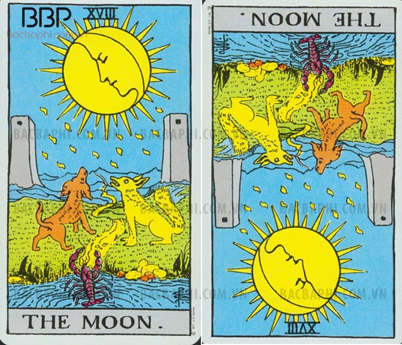 Lá bài XVIII – The Moon (Mặt trăng) xuôi và ngược