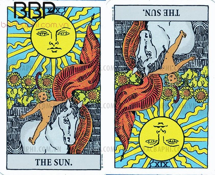 Lá bài XIX – The Sun (Mặt trời) xuôi và ngược