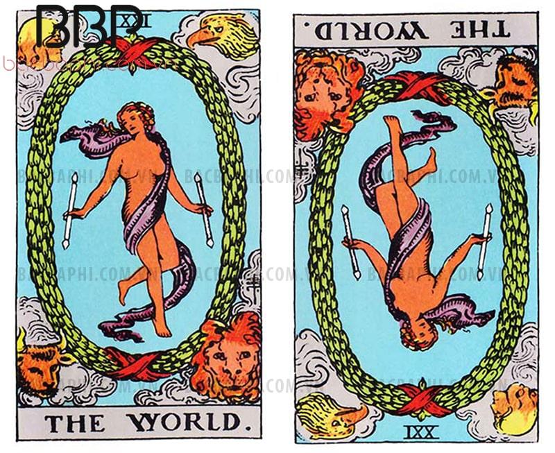 Lá bài XXI – The World (Thế giới) xuôi và ngược