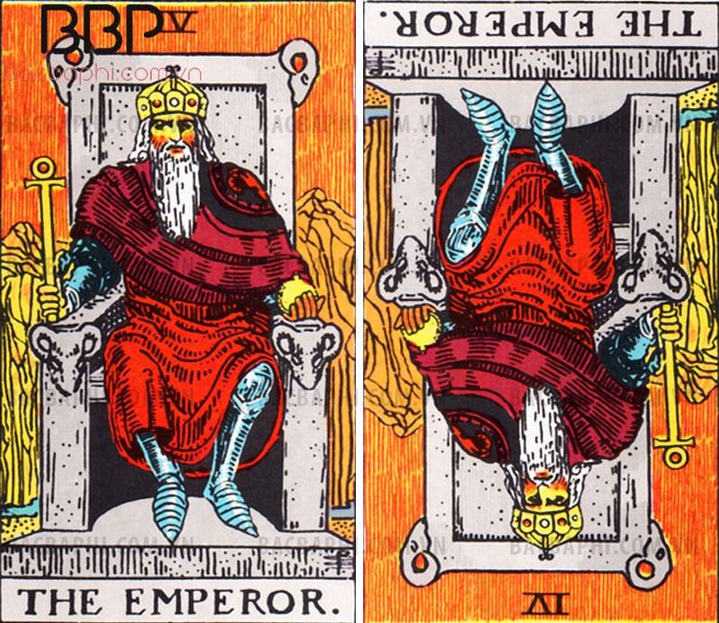 Lá bài IV – The Emperor (Hoàng đế) xuôi và ngược