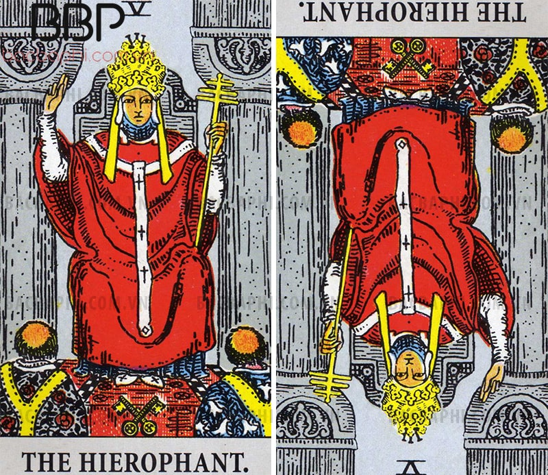 V – The Lá bài Hierophant (Giáo hoàng) xuôi và ngược