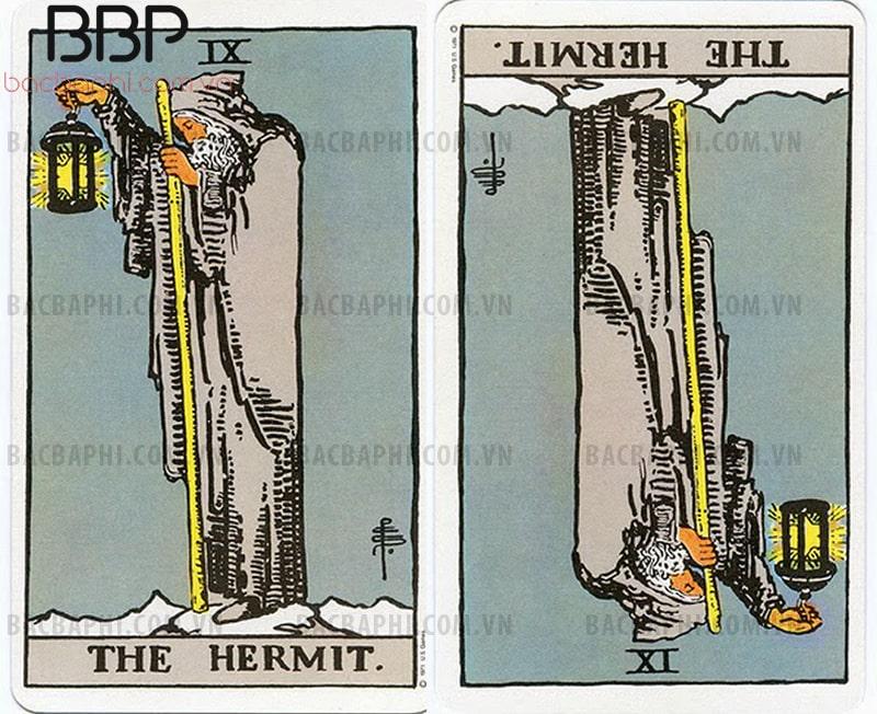 Lá bài IX – The Hermit (Ẩn sĩ) xuôi và ngược